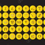 Set of 40 Premium Cryptocurrency Flat Vector Icons