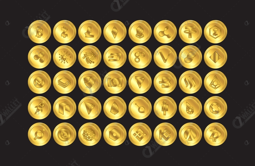 Set of 40 Premium Cryptocurrency Gold Vector Coins