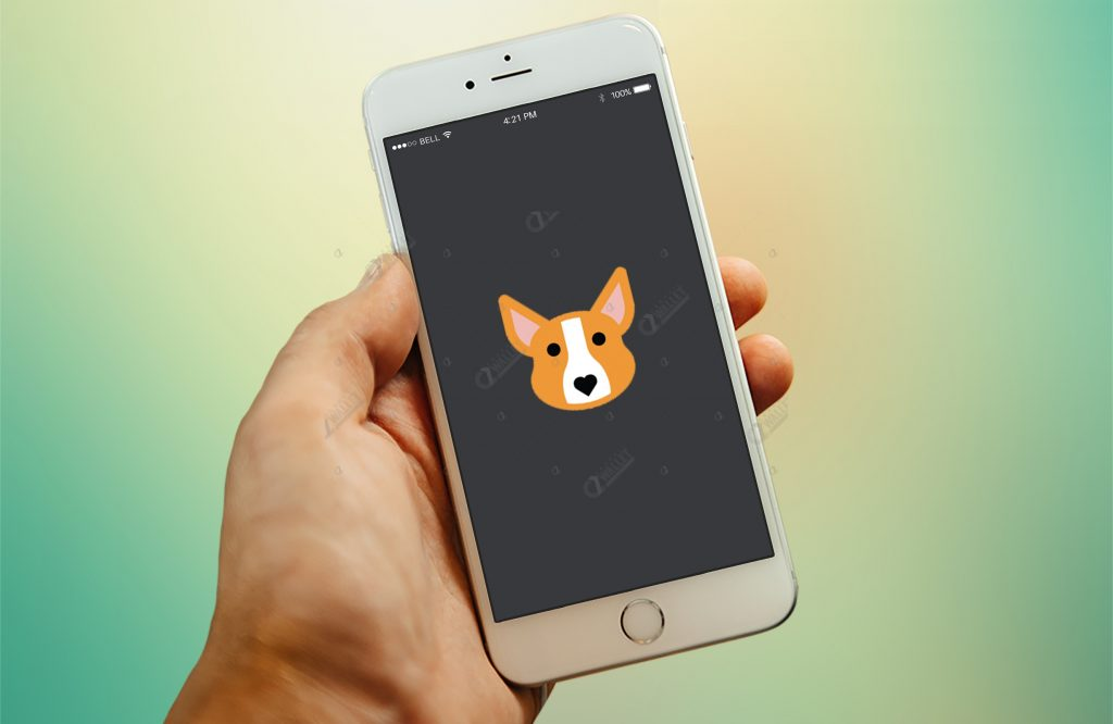 iPhone 6 Logo Mockup Closeup In Hand Template – Doggy App