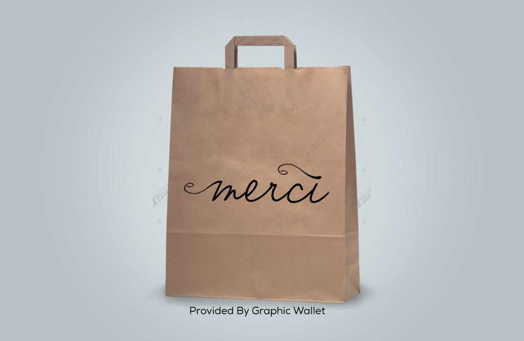 Brown Paper Shopping Bag Mockup – Merci