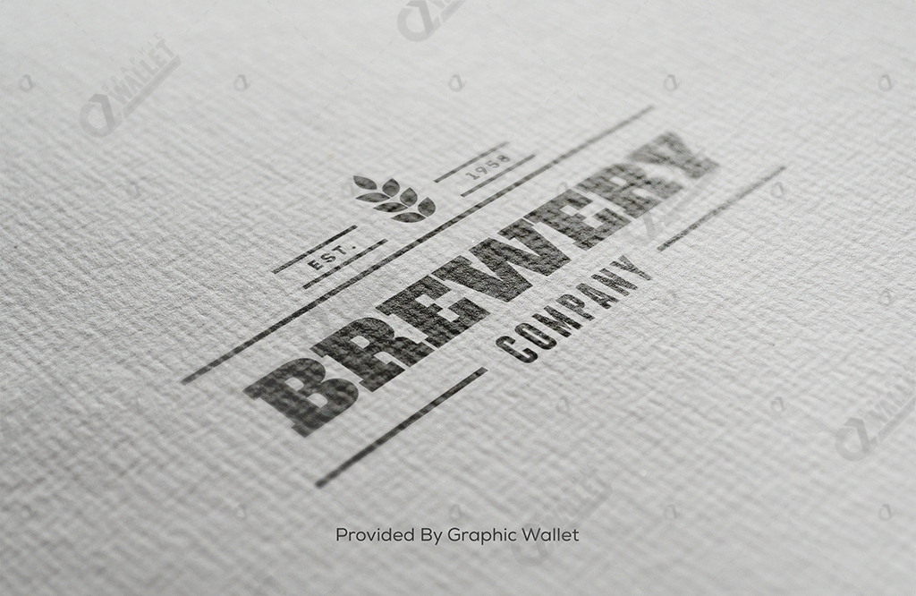 Watercolour Paper Black & Gold Logo Mockup – Brewery