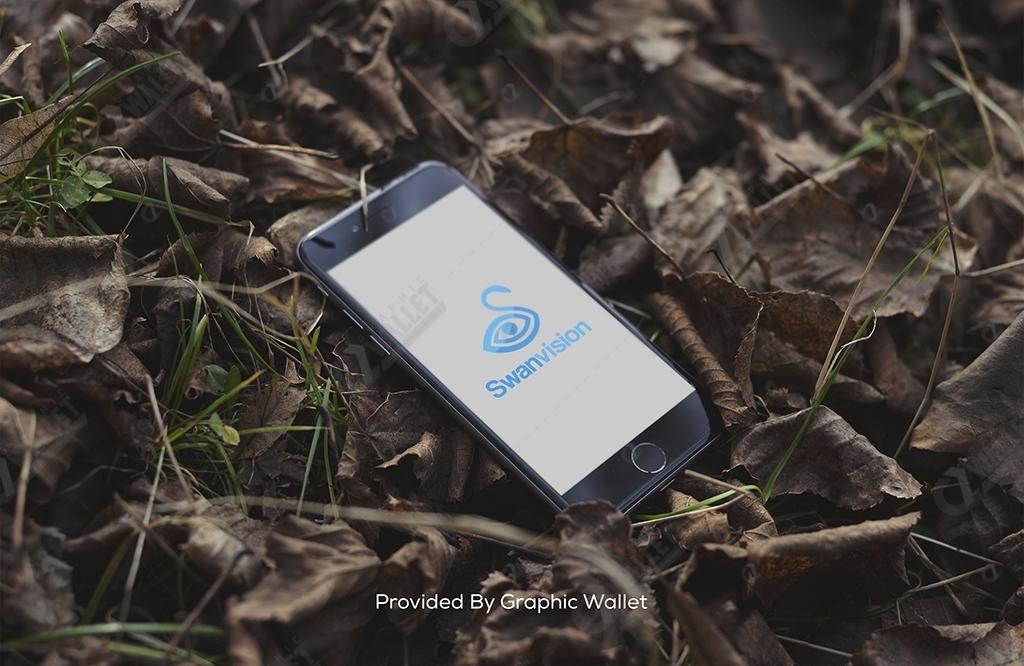 iPhone 6 On The Floor App Icon & Logo Mockup – Swan Vision