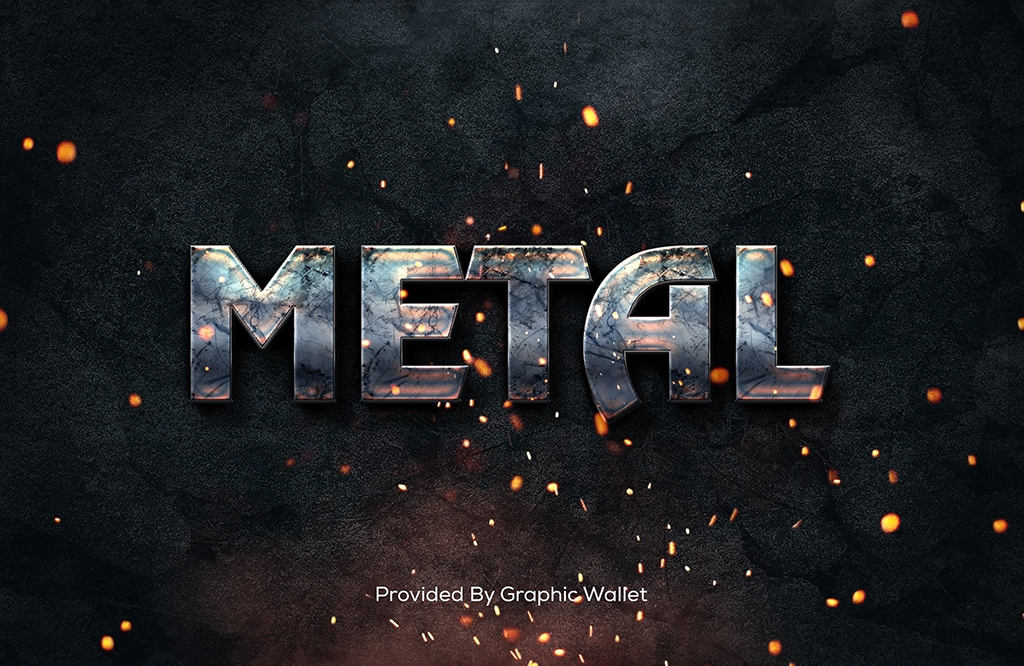 Metal Text Style Mockup