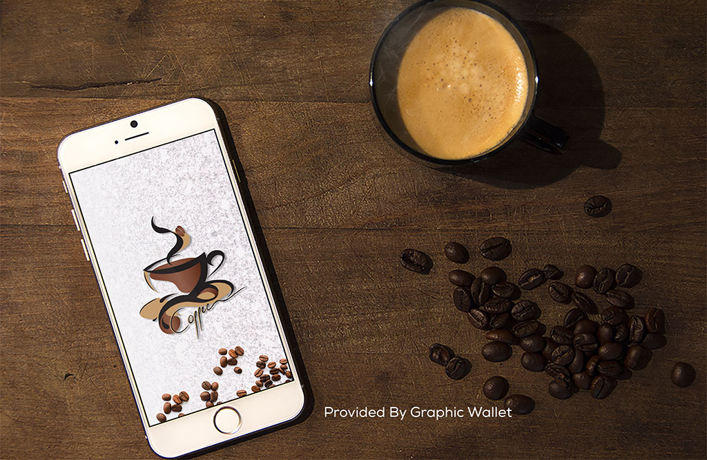iPhone 6 PSD Mockup With Coffee Cup