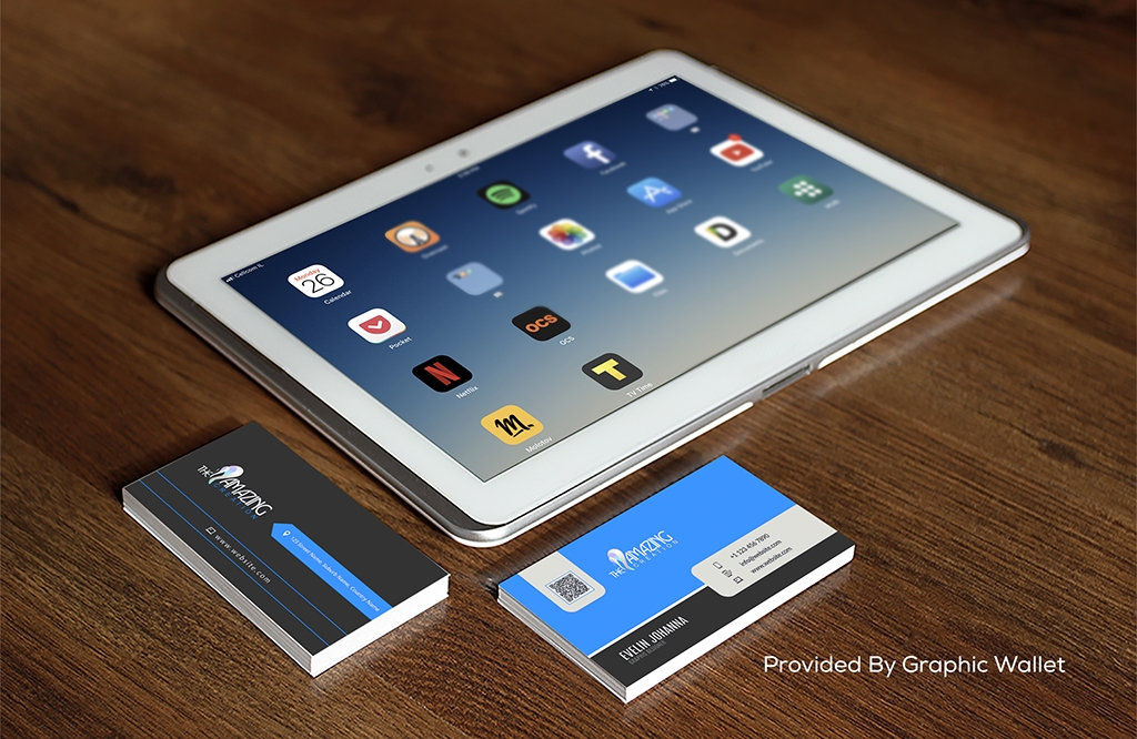 Download Free PSD iPad Preview Business Card Mockup