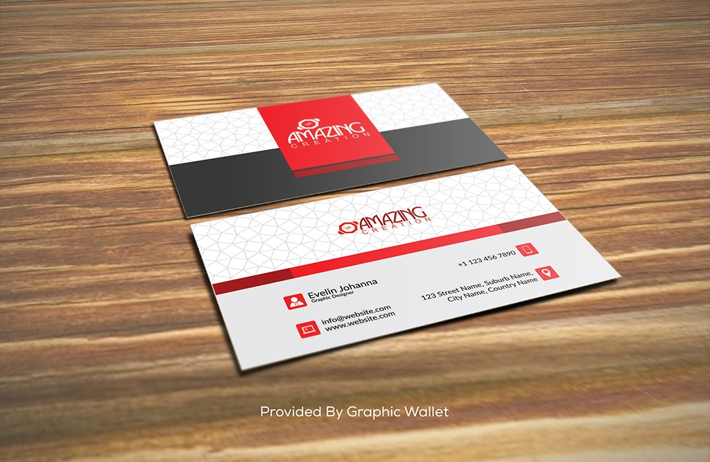 Free PSD Business Card Mockup on the Wooden Floor