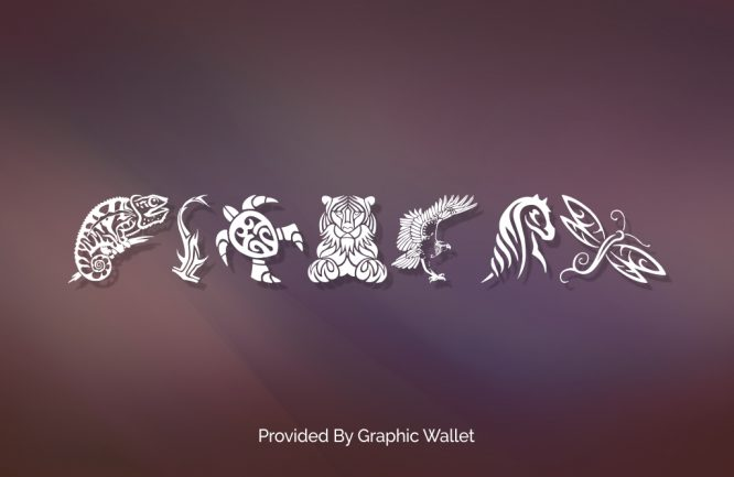Tribal Animals Tattoo Designs Font