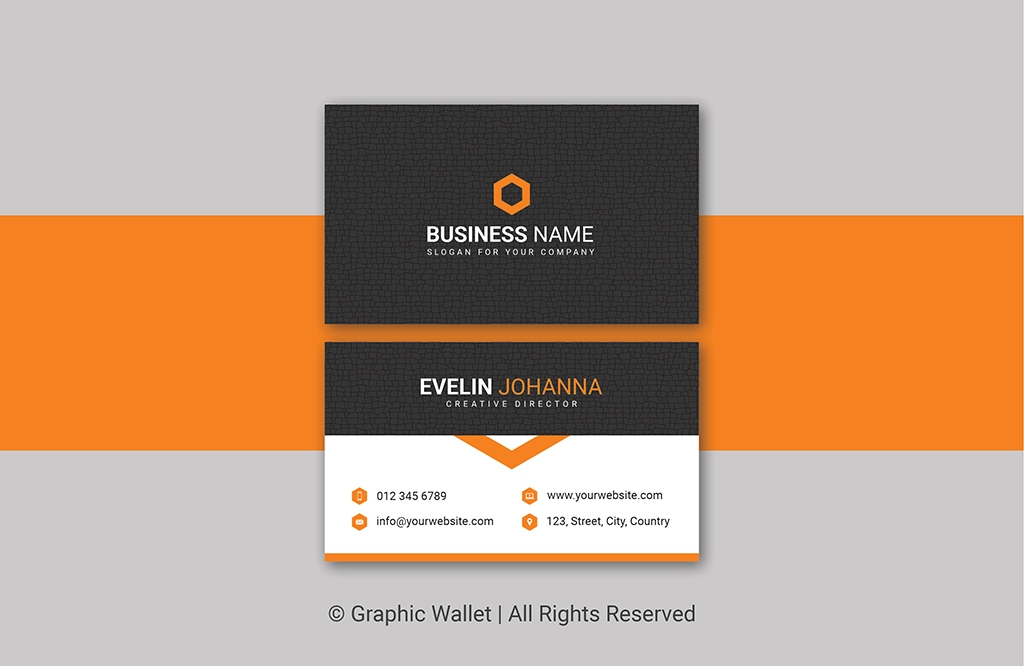 Creative Cracked Texture Premium Business Card – Orange