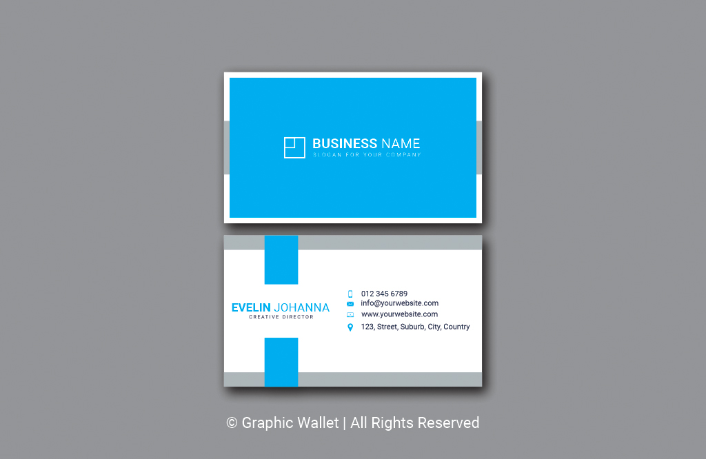 Modern Simple Premium Business Card – Blue