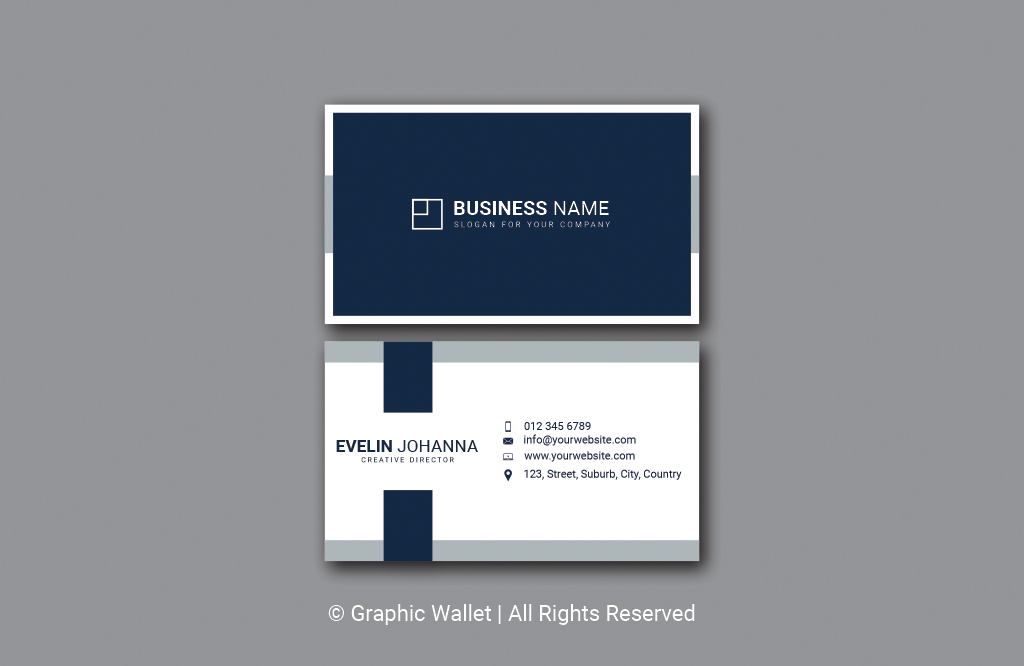 Modern Simple Premium Business Card – Navy