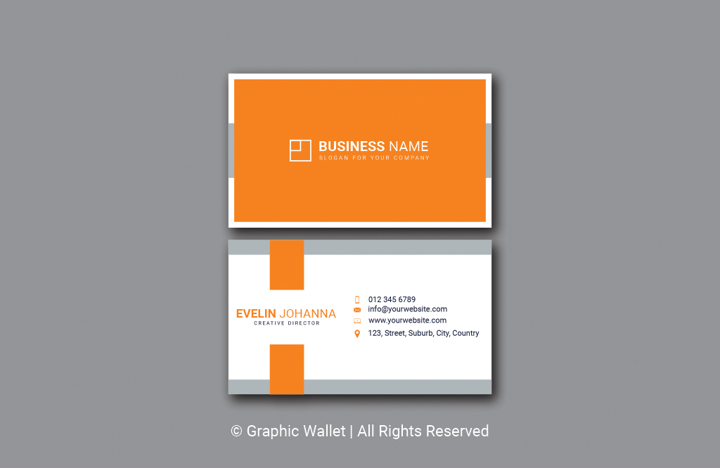 Modern Simple Premium Business Card – Orange