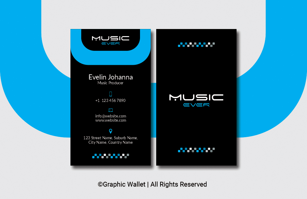 Music Ever Modern Premium Business Card – Blue