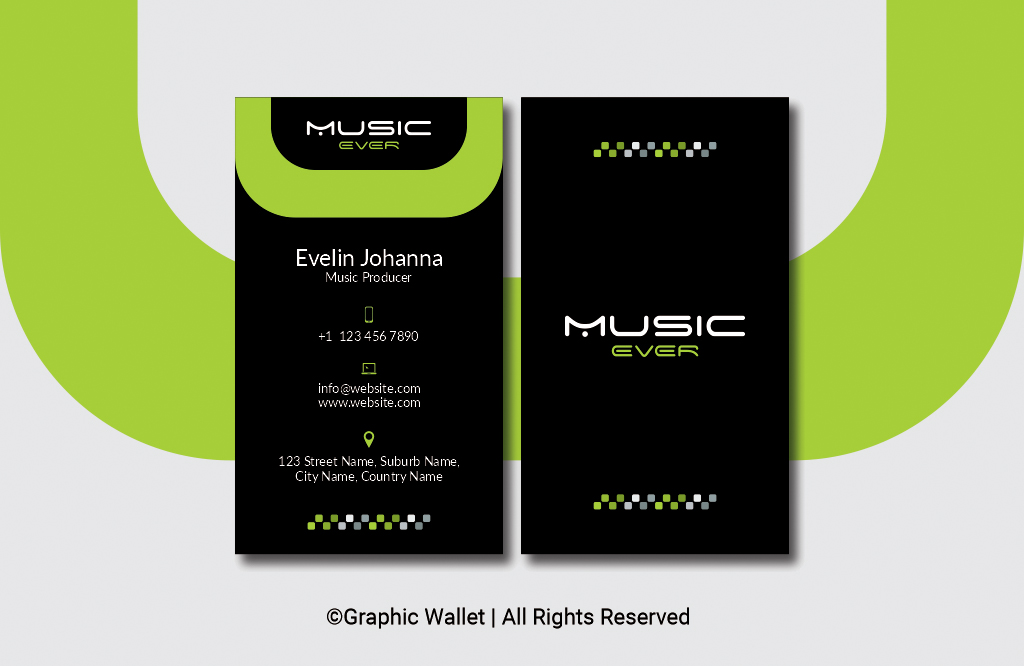 Music Ever Modern Premium Business Card – Green