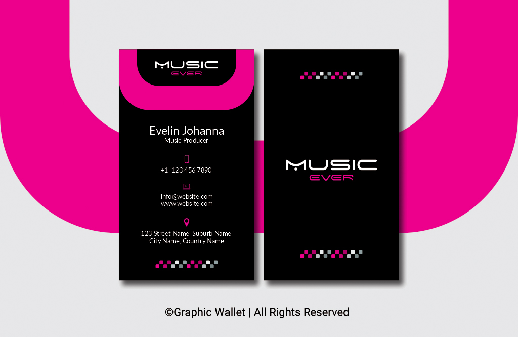 Music Ever Modern Premium Business Card – Magenta