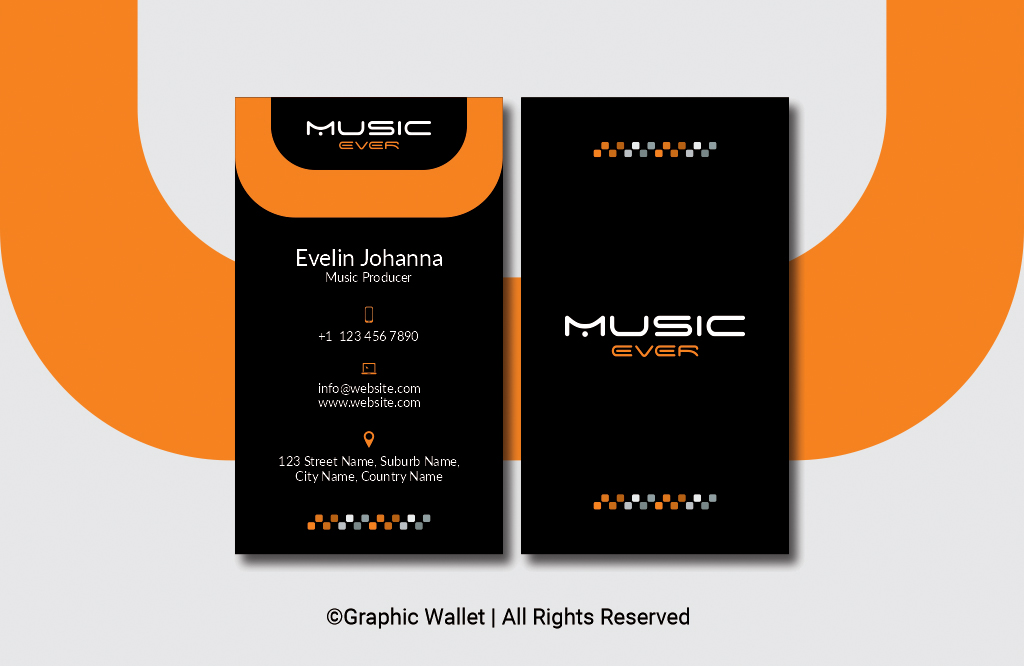 Music Ever Modern Premium Business Card – Orange