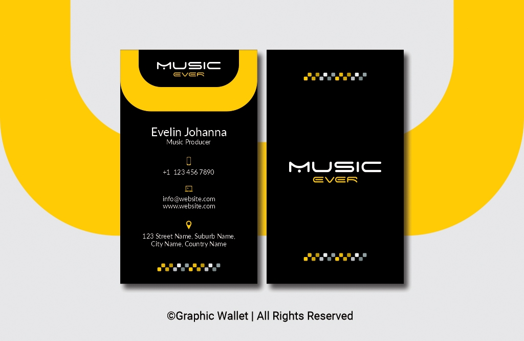 Music Ever Modern Premium Business Card – Yellow